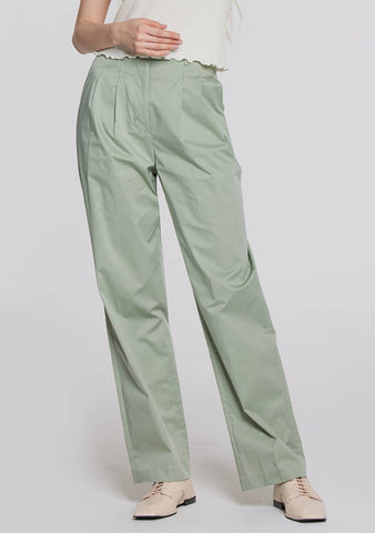 High-Waisted Slacks (Light Khaki)