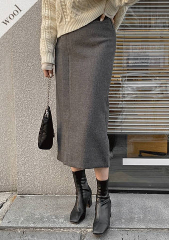 Back To Us Wool Long Skirt