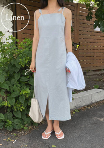 Sailing On The Sea Linen Slit Dress
