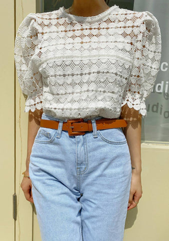 Form Nature Lace Puff Blouse