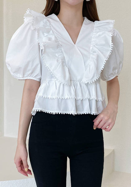 The Picture Of Natural Ruffle Blouse