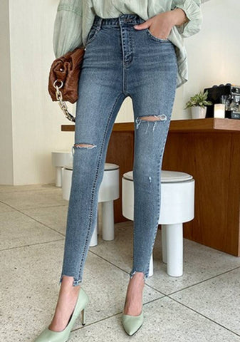 Take Your Chance  Distressed Denim Jeans