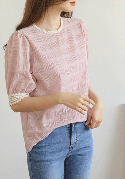 Clever Irony Lace Trim Puff Blouse