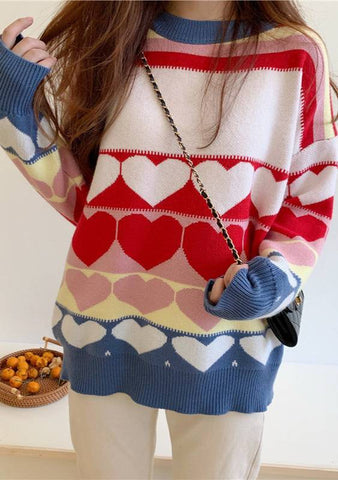 All You Do I Feel Round Heart Knit Sweater