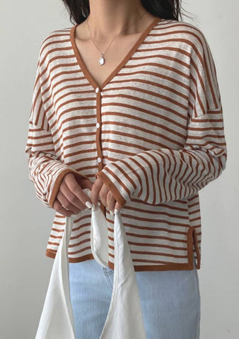 Teardrop Of July Linen Stripes Cardigan