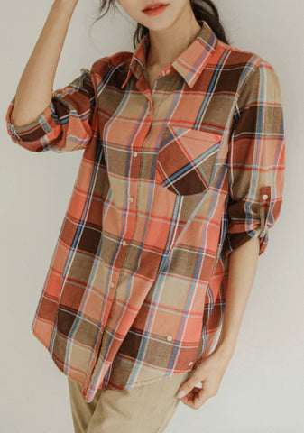 Crimson Glowing Plaid Shirt