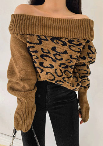 My Little Secret Leo Print Knit Sweater