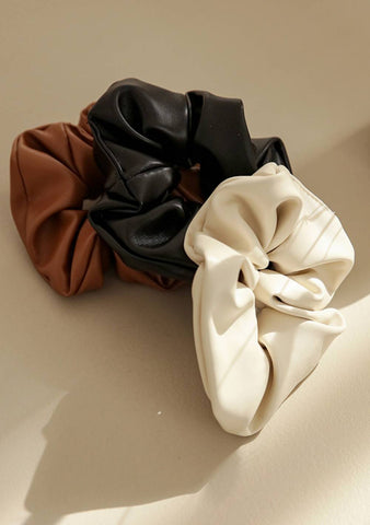Night Of The Day Leather Look Scrunchie