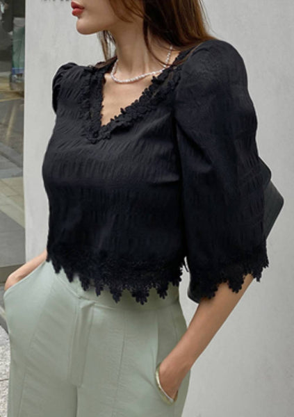 Truly Want To Be Together Lace Hem Blouse