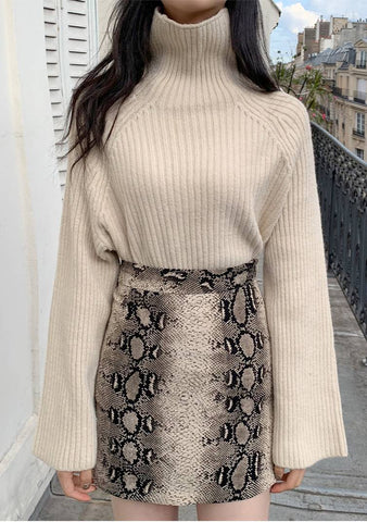 Bold Weave Turtleneck Knit Sweater