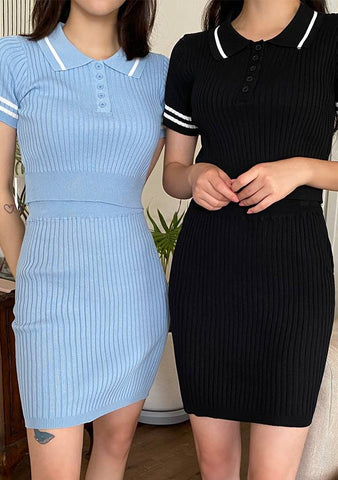 Best Friend Time Ribbed Knit Top + Skirt Set