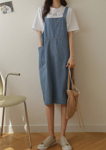 Perfect For Romance Denim Overalls Dress