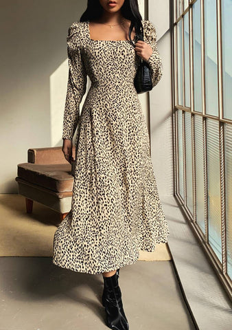 Nothing As Beautiful Leo Print Long Dress