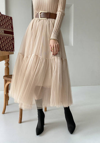 Estelle Mesh Pleated Skirt
