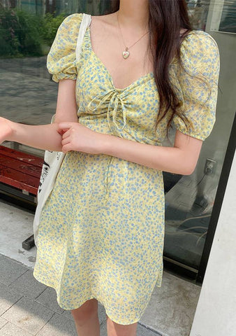 Who Are You Lily Flower Shirring Dress