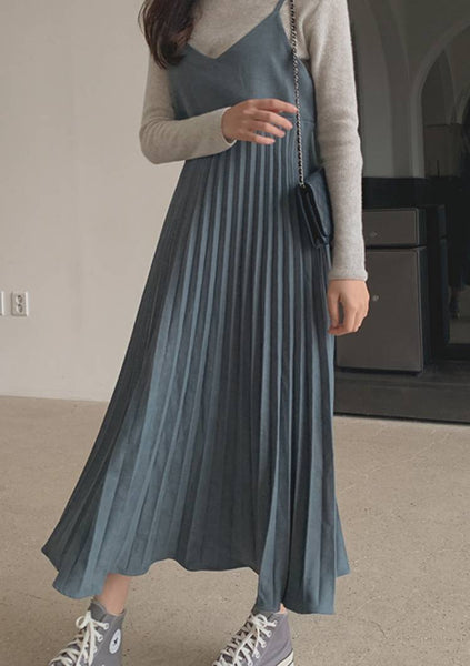 Important Words Pleated Long Dress