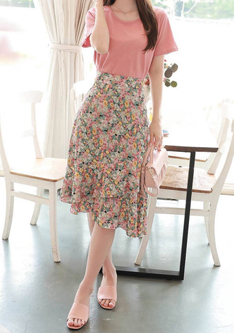 Remember This Flower Skirt Top Set