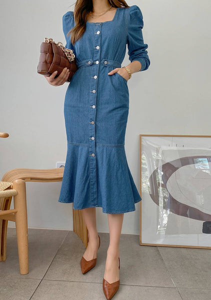 Okay To Ask For Help Denim Puff Dress