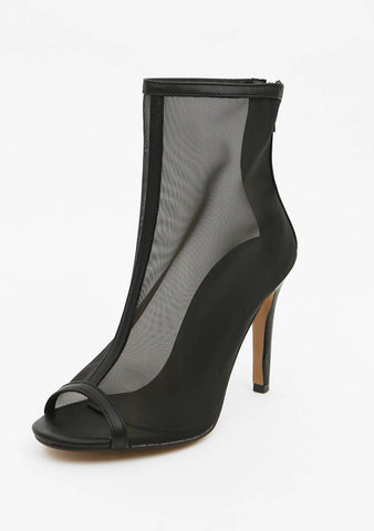 Sheer Peep Toe Ankle Boots