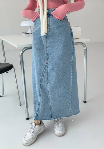 To Unknown Things Slit Denim Skirt
