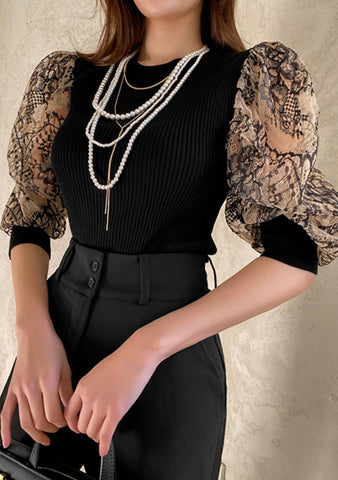 Your Stronger Excuse Lace Sleeves Knit Top