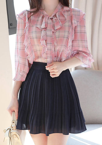 Sunday Candy Ruffle Plaid Blouse