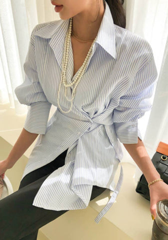 The Vital Accessories Front Tie Stripes Shirt
