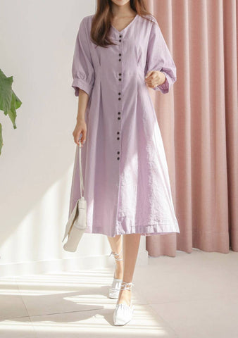 Under Lonely Stars Button Long Dress