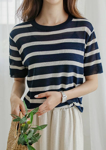 Laugh With Many Stripes Linen Knit Top