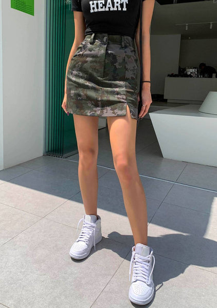 The Living Is Easy Camo Mini Skirt