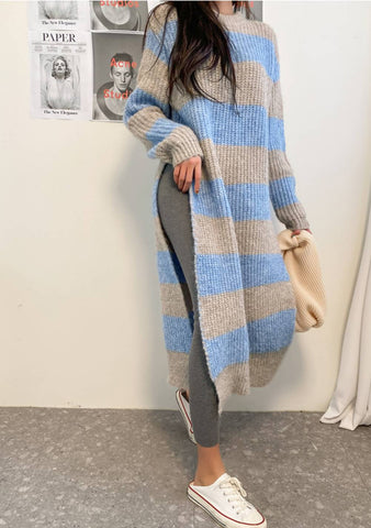 A Whole New World Stripes Side Slit Long Knit