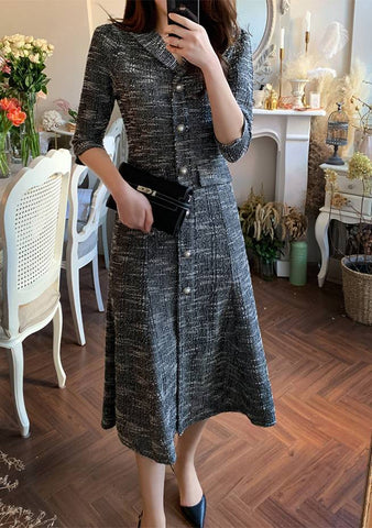 Texture Tweed Midi Dress