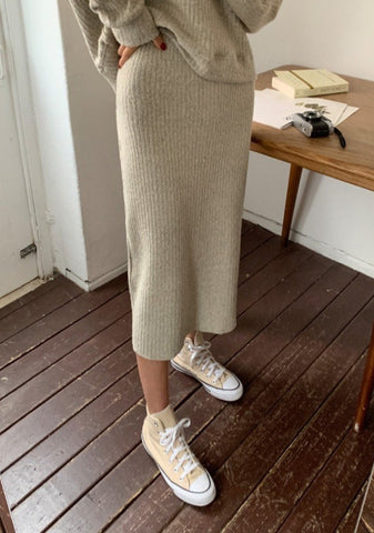 Lets Get It Started Ribbed Knit Skirt