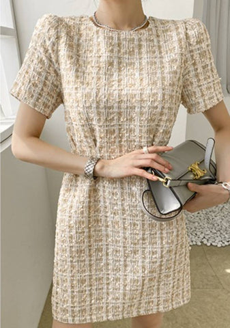 Down To Earth Tweed Dress
