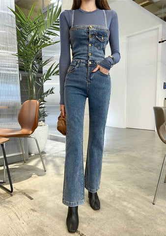 So Hard To Forget Denim Jumpsuit