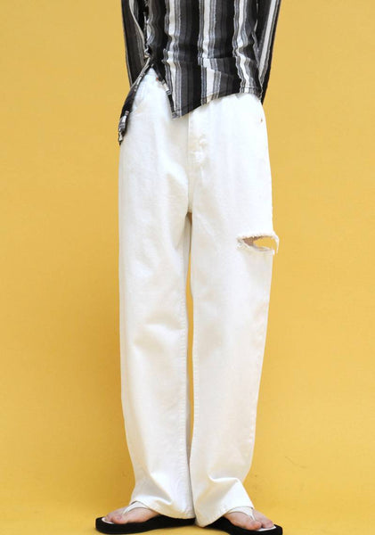 Color Distressed Pants [White]