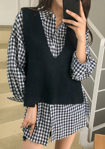 Amorous Check Shirt Dress Vest Set