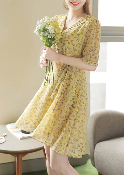 Monthly Flower Puff Dress