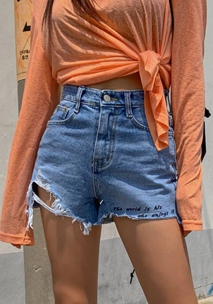 Beach Days Best Days Ribbed Denim Shorts