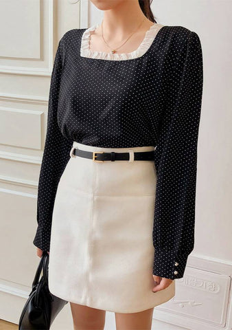 Original Composition Square Neck Dots Blouse
