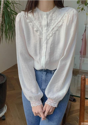 Happy And Smiling Lace Collar Blouse