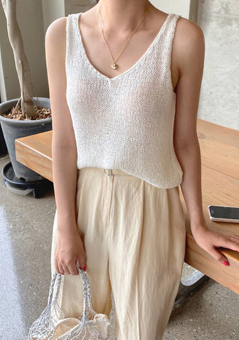 Hello July Sleeveless Knit Top