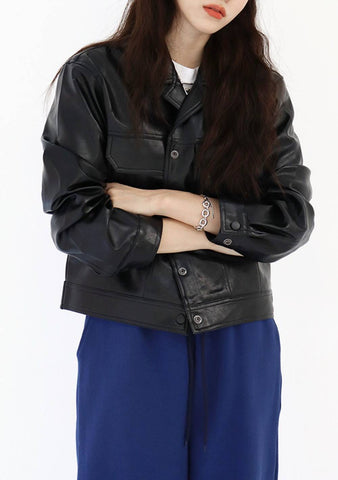 Cover Leather Jacket [Black]