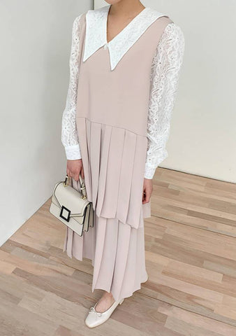 Neutral State Of Mind Pleated Layered Dress