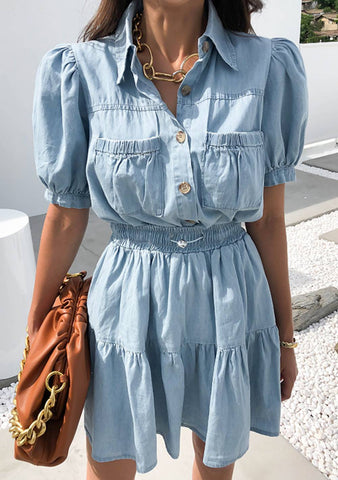 Modern Love Denim Skirt Shirt Set