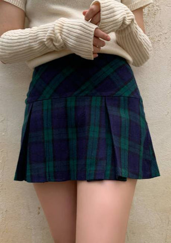 Lena Check Pleated Skirt