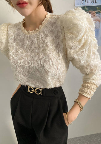 All The Proofs Lace Puff Blouse