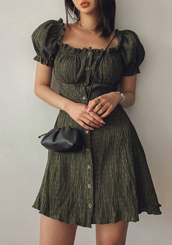 True Nobility Off-Shoulder Shirring Dress