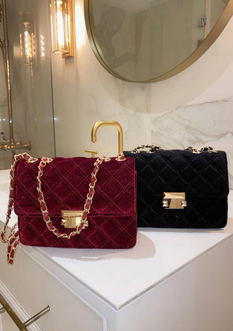 Patience Is The Calm Velvet Quilted Bag