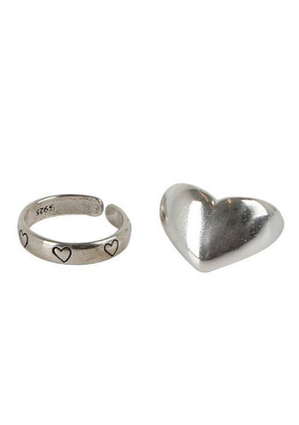 Double Hearts Ring Set
